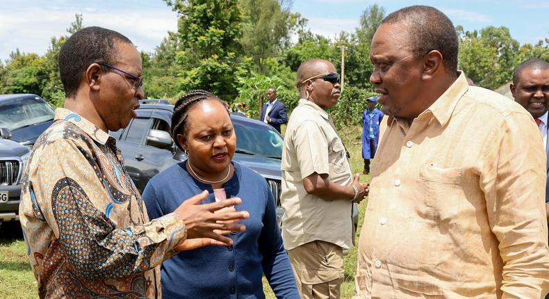 President Uhuru Kenyatta, Governor Anne Waiguru and Interior PS Karanja Kibicho