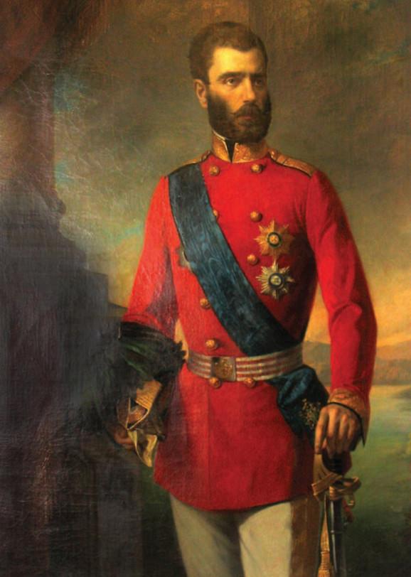 """Stevan Todorović, """"Portret kneza Mihaila Obrenovića"""" (detalj)"""