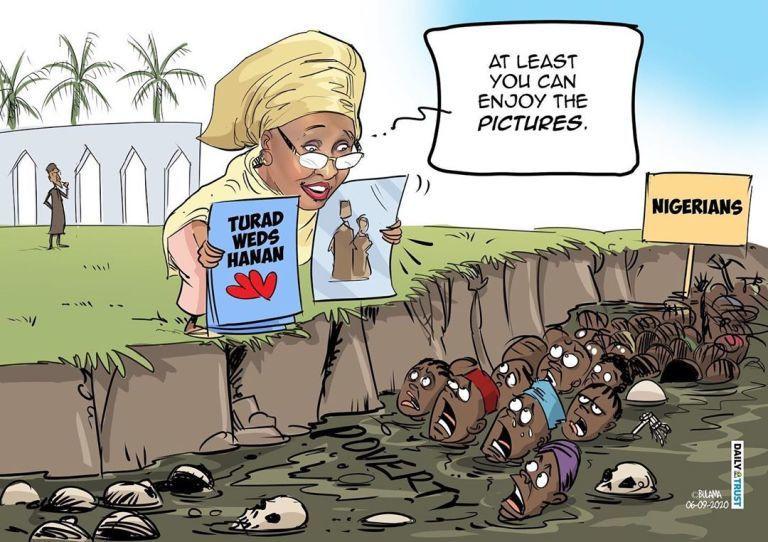 Aisha Buhari Cartoon by Mustapha Bulama of Daily Trust [Daily Trust]