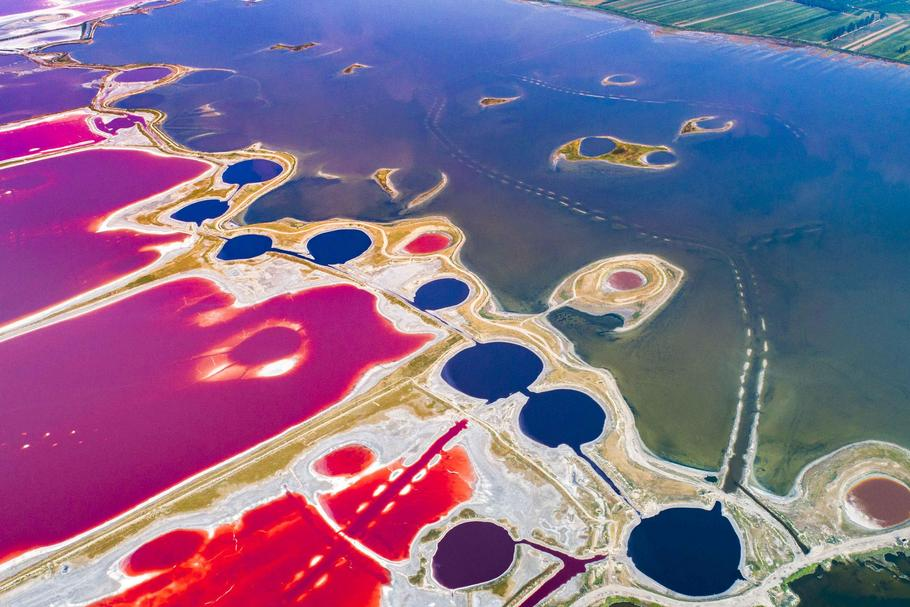 salt lake become colorful in Yuncheng,Shanxi, China on 15 August 2018