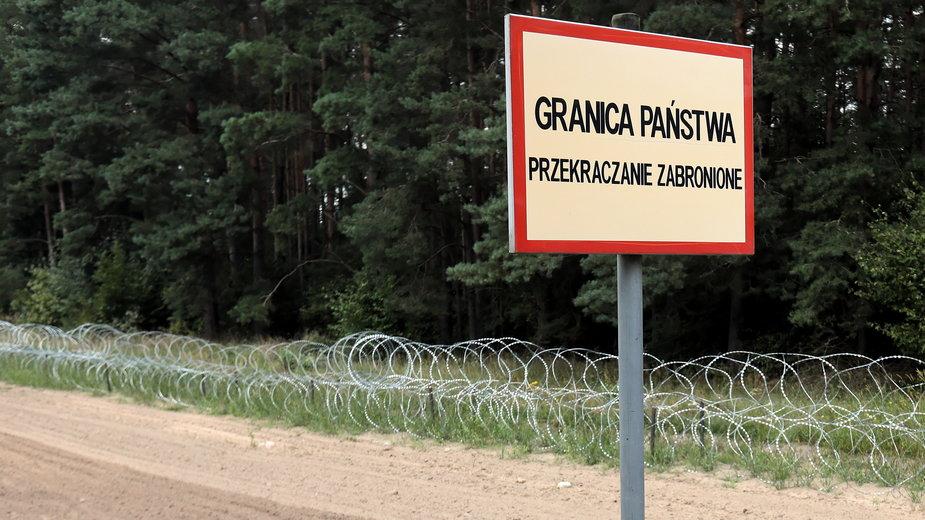 Kopczany, 23.08.2021. Pas drogi granicznej na polsko-białoruskiej granicy w Kopczanach