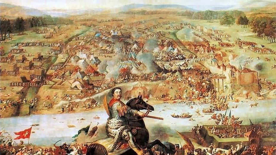 Bitwa pod Chocimiem - przedstawienie z epoki (aut. Andreas Stech, Ferdinand van Kessel, domena publiczna)