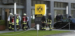 Straż pożarna pod budynkiem Borussii Dortmund. Na kopercie był biały proszek