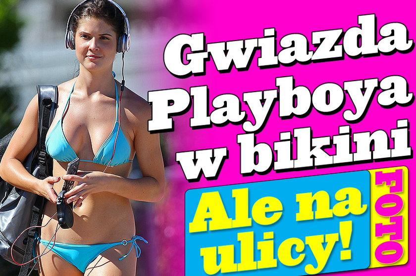 Gwiazda Playboy'a w bikini na ruchliwej ulicy