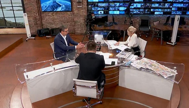 Predsednik Srbije Aleksandar Vučić tokom gostovanja na TV Pink