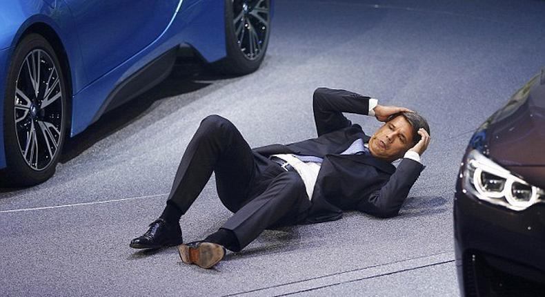 BMW chief executive Harald Krueger collapsed during a press conference at the Frankfurt Auto show while standing beside the company's hybrid electric i8 super car.