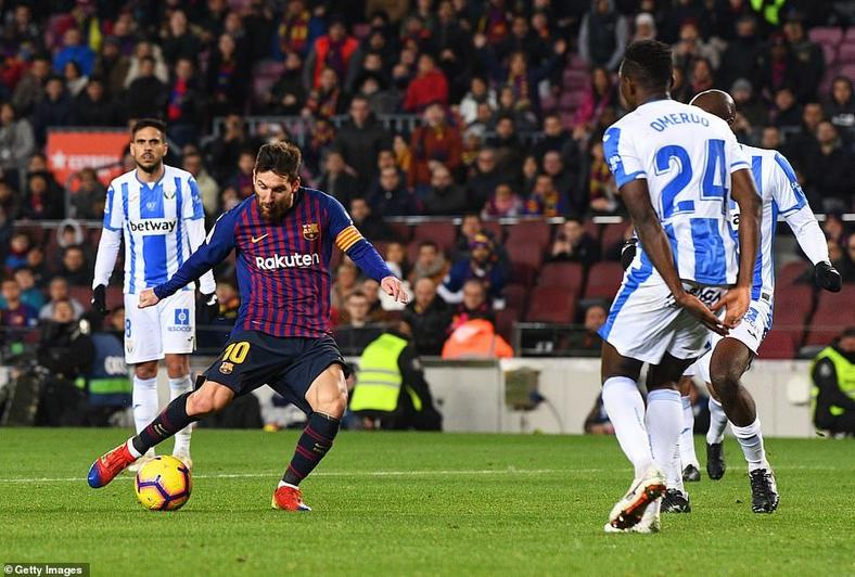 Kenneth Omeruo could not stop Lionel Messi and Barcelona who beat Leganes 3-1 (Getty Images)