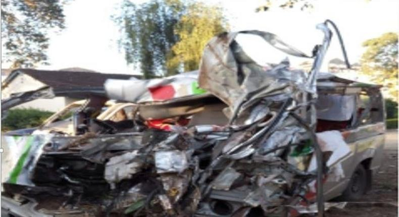 The wreckage of the matatu that was involved in an accident on Saturday