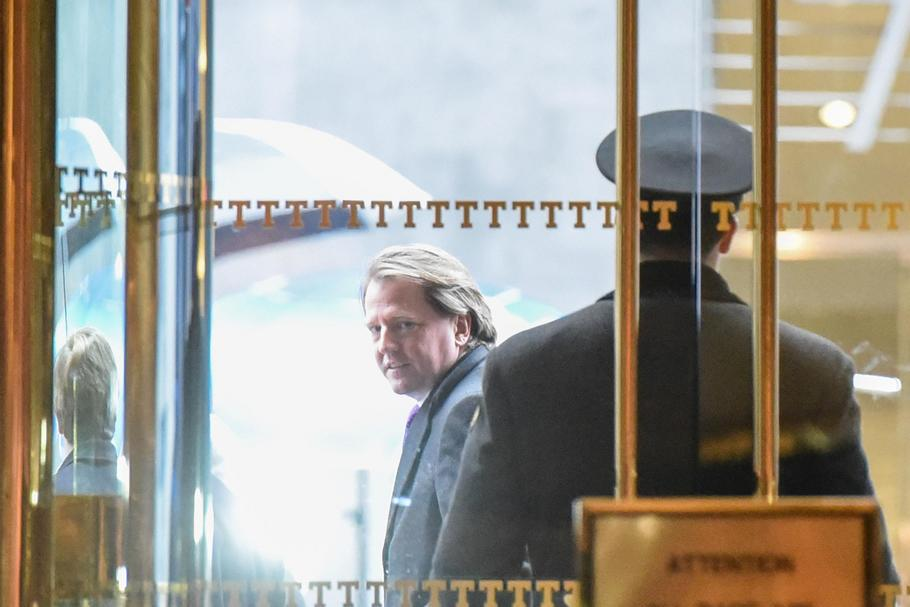 Donald F. McGahn, an American campaign finance lawyer, exits Trump Tower in New York City