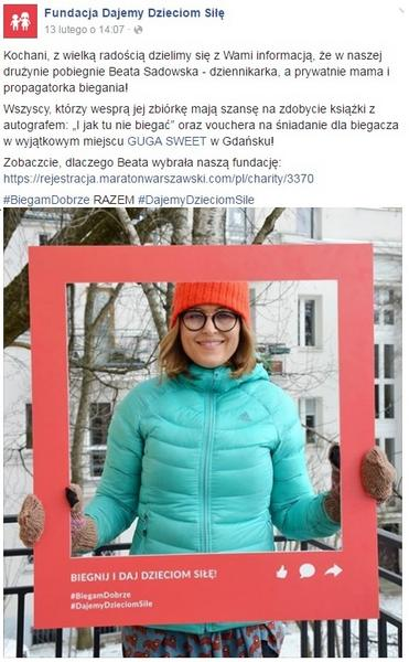 Beata Sadowska na Facebooku