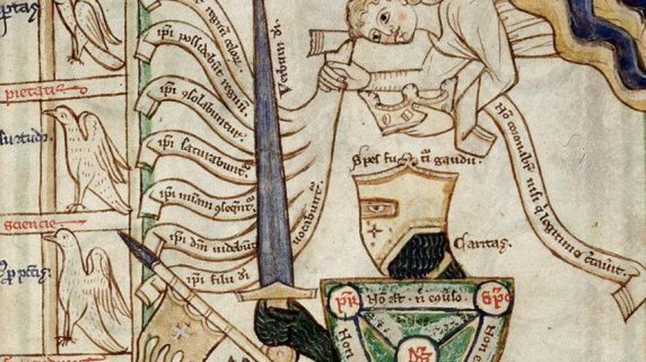 """Bogate w symbolikę wyobrażenie """"rycerza Chrystusa"""", trzymającego w ręku tzw. Scutum Fidei (tarczę Trójcy Świętej) i koronowanego przez anioła z listą siedmiu błogosławieństw w ręku (domena publiczna)"""