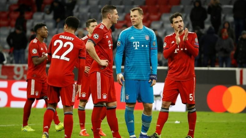 Bayern Munich's disappointed stars (from left) David Alaba, Serge Gnabry, Robert Lewandowski, Niklas Suele, Manuel Neuer and Mats Hummels after the 3-1 defeat to Liverpool