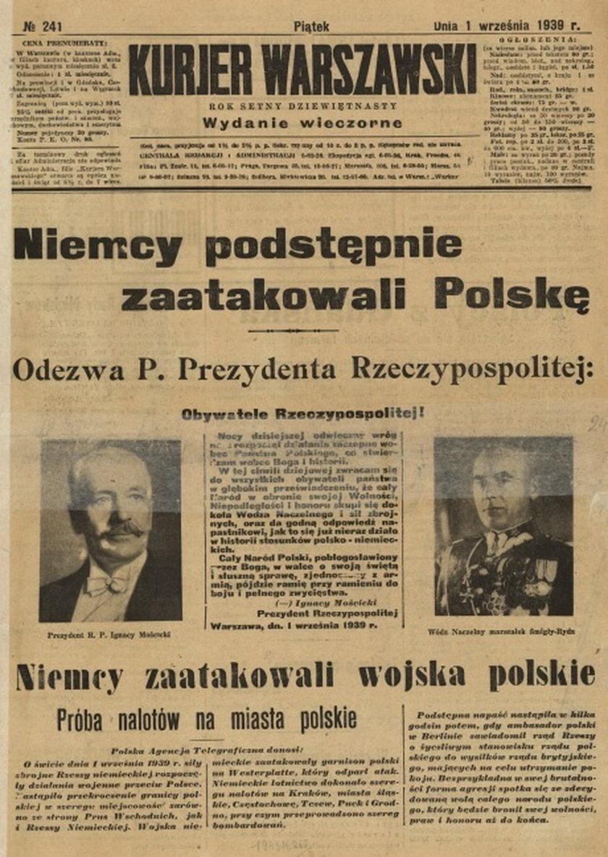 Nagłówki gazet z 1 września 1939 roku.