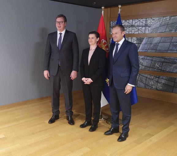 Aleksandar Vučić, Donald Tusk i Ana Brnabić