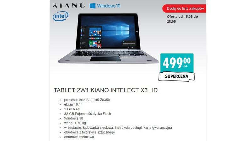 2W1 KIANO INTELECT X3 HD w sklepach Biedronka za 499 złotych