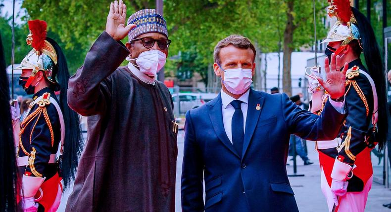 President Muhammadu Buhari (left) with French President Emmanuel Macron (right) [Presidency]