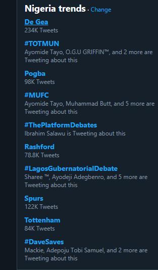 David de Gea was the number one trending item on Twitter (Twitter)