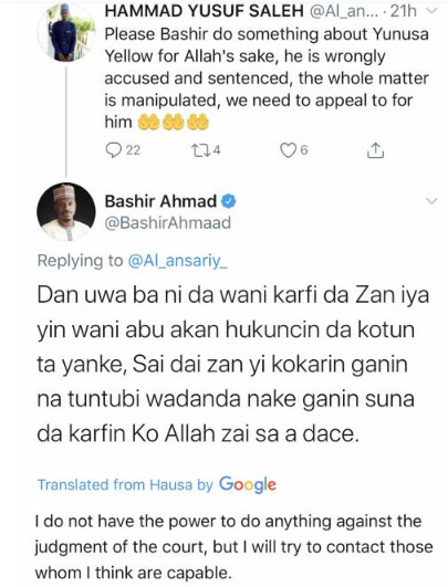 A screenshot of the conversation between Ahmad and one of his followers on Twitter.