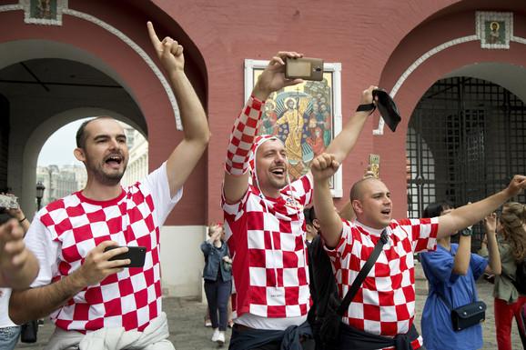 Navijači Hrvatske na ulicama Moskve
