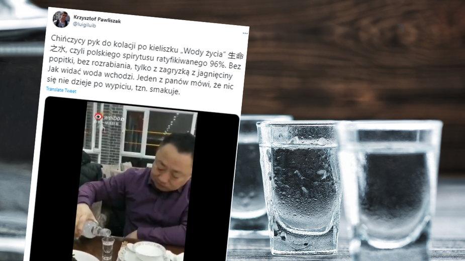 Polak pokazał nagranie, na którym Chińczycy piją polski spirytus