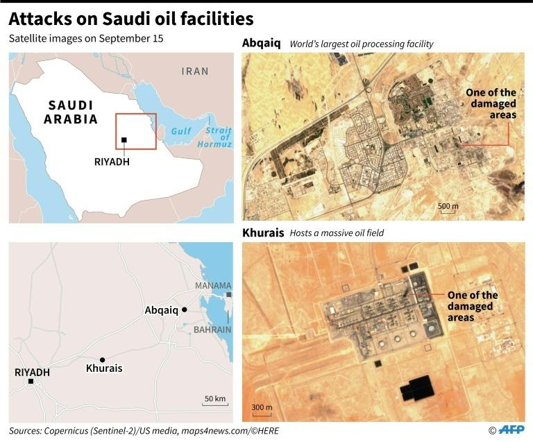 Satellite images taken on Sept 15 showing some of the damaged areas of Saudi Arabia's oil installations that were attacked by drones.