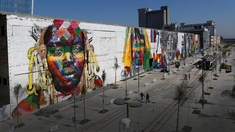 A massive mural is seen on Rio's Olympic Boulevard featuring native peoples from five continents ahead of the Rio 2016 Olympic Games in Rio de Janeiro