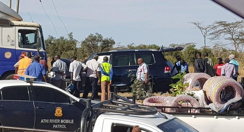 Toyata Prado belonging to the Zambian High Commission that was involved in an accident at the Lukenya Bridge