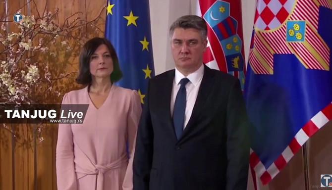 Zoran Milanović sa suprugom Sanjom Musić Milanović danas na inauguraciji na Pantovčaku