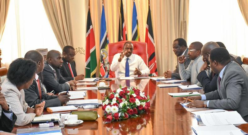 DP William Ruto with governors and Parliament leadership during the Monday meeting