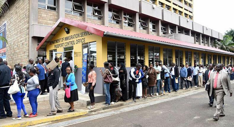 Kenyans at an immigration office. Kenyans without e-passport will not be granted the Schengen visa from June 1
