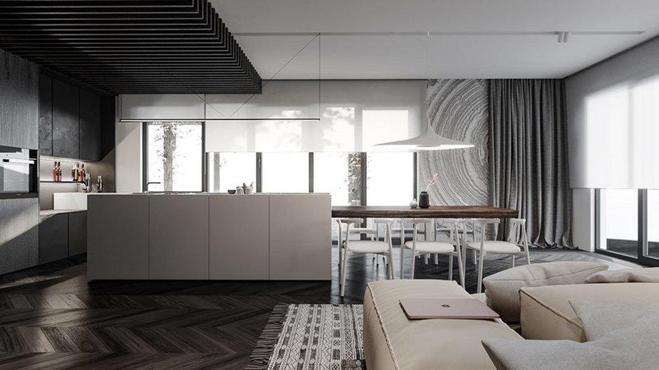 Mieszkanie w odcieniach bieli i czerni