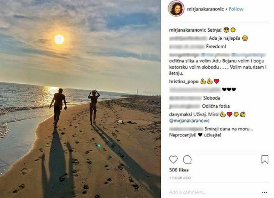 Mira Karanović gola na plaži sa muškarcem