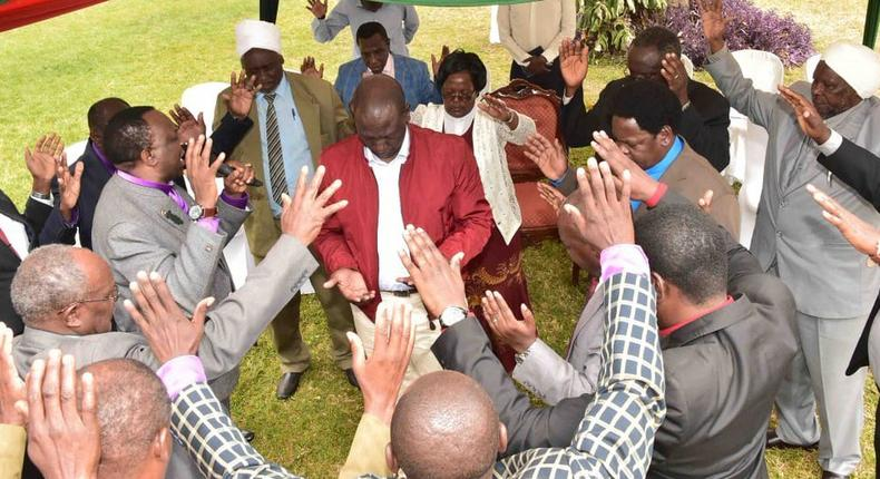 Religious leaders praying for DP Ruto at his Sugoi home on Friday (Twitter)