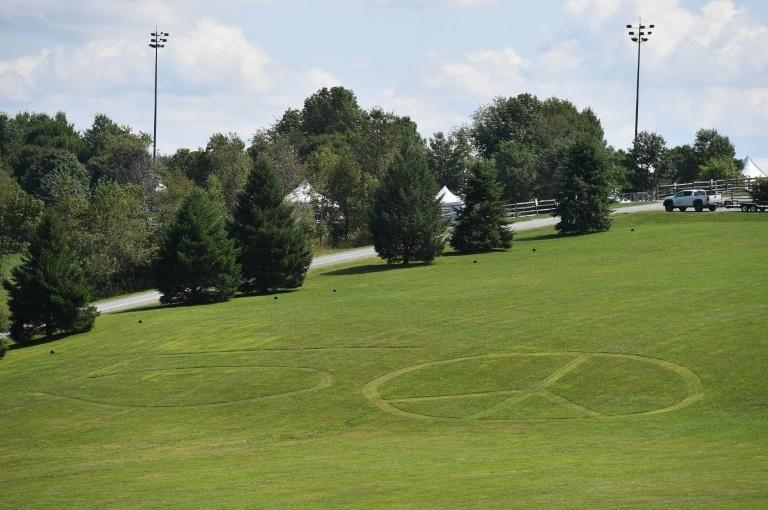 The main field of the original Woodstock festival site, where 50-year anniversary celebrations are underway