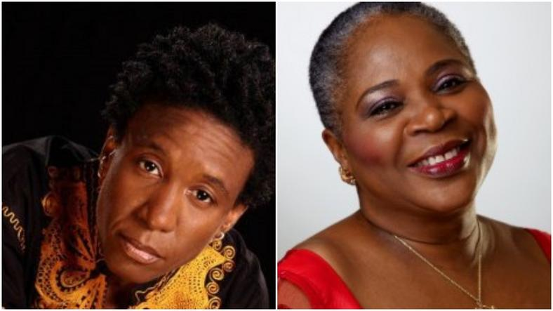 Weird MC and Onyeka Onwenu. (Eyevo/Info Nigeria)