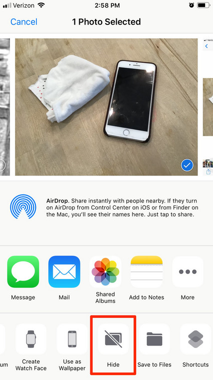 how to hide photos iphone