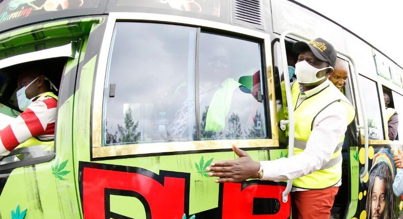DP William Ruto hanging on a matatu during a recent interaction at his Karen residence