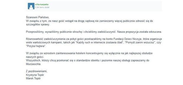 Oświadczenie zamieszczone na stronie Wykop.pl