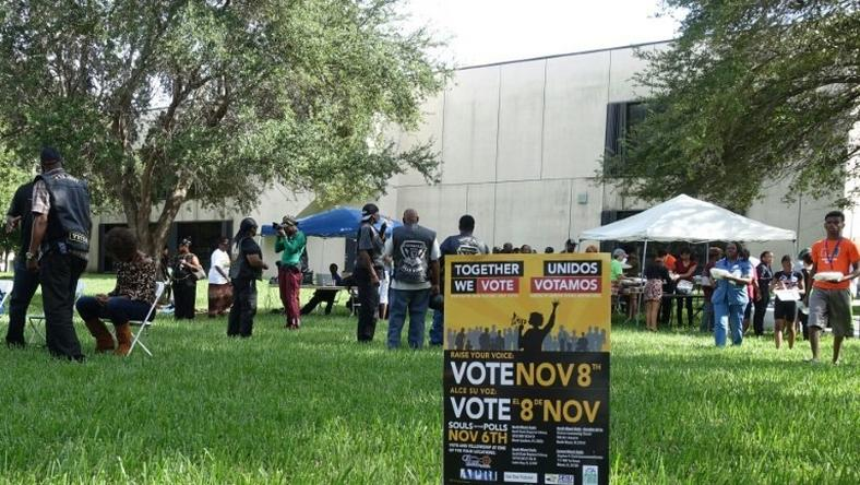 People attend an event called ?Souls to the Polls? on November 6, 2016 in Cutler Bay, Florida, which aims to encourage minority voter turnout in the key swing state of Florida
