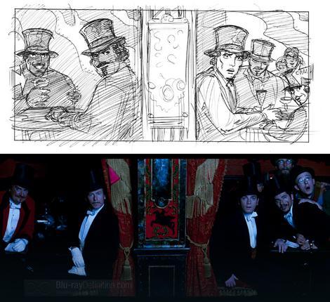 """Storibord za film """"Mulen ruž"""" (gore) i scena iz filma (dole)"""
