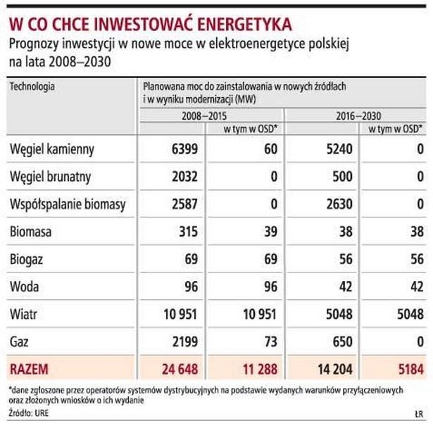 W co chce inwestować energetyka