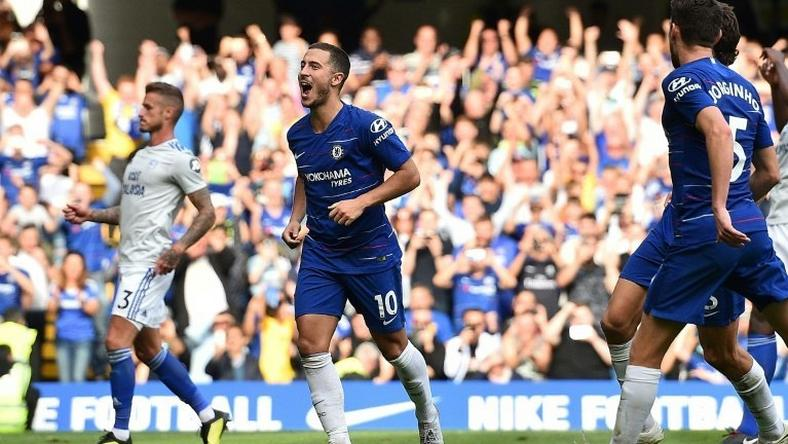 Chelsea's Eden Hazard celebrates scoring their third goal in a 4-1 win at home to Cardiff