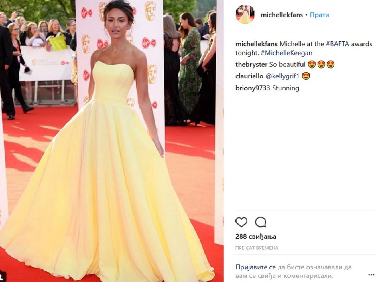 Mišel Kigan u žutoj haljini