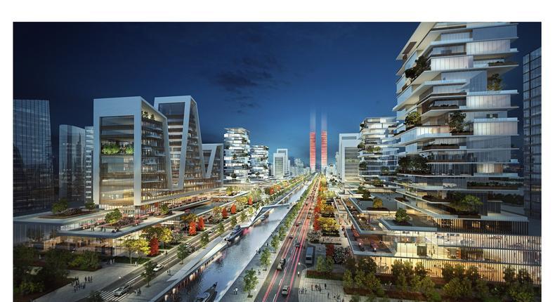Picture depicting the futuristic city, Eko Atlantic City, in Lagos Nigeria