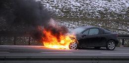 Sceny grozy! Opel płonął na obwodnicy