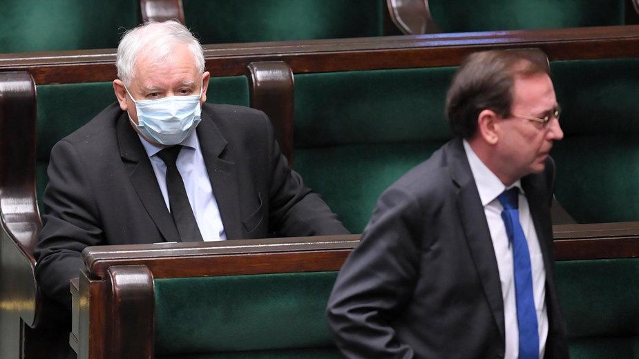 Jarosław Kaczyński i minister Mariusz Kamiński