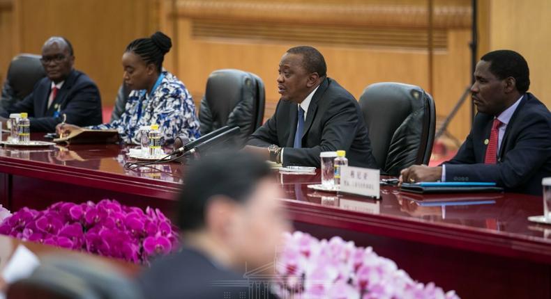 President Uhuru Kenyatta during talks with China's President Xi Jinping (PSCU)