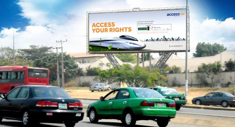Access Bank billboard at Nnamdi Azikwe way, FTF Berger Roundabout, Abuja