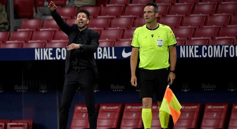 Diego Simeone admitted there is anxiety in his squad as Atletico Madrid look to clinch the La Liga title on Sunday. Creator: PIERRE-PHILIPPE MARCOU