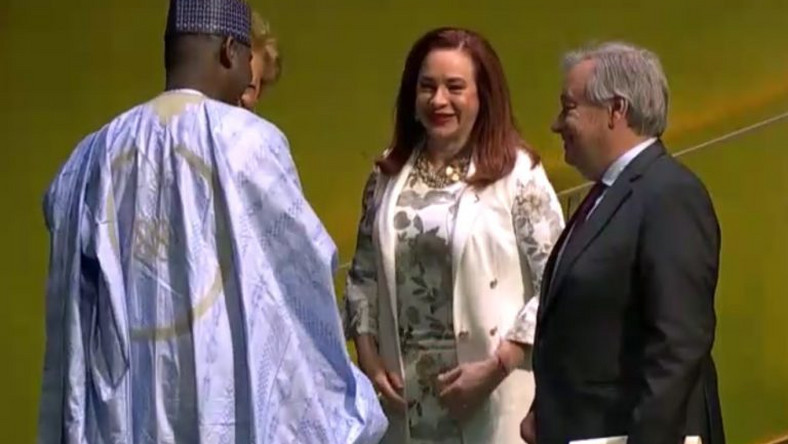 From left: President-elect of the 74th UN Genetral Assembly, Amb. Tijani Mohammad-Bande; outgoing president of the 73rd UNGA, Ms Maria Espinosa, and UN Secretray General, Antonio Guterres, shortly after Mohammad-Bande's election at the UN hedaquarter in New York on Tuesday. (NAN)